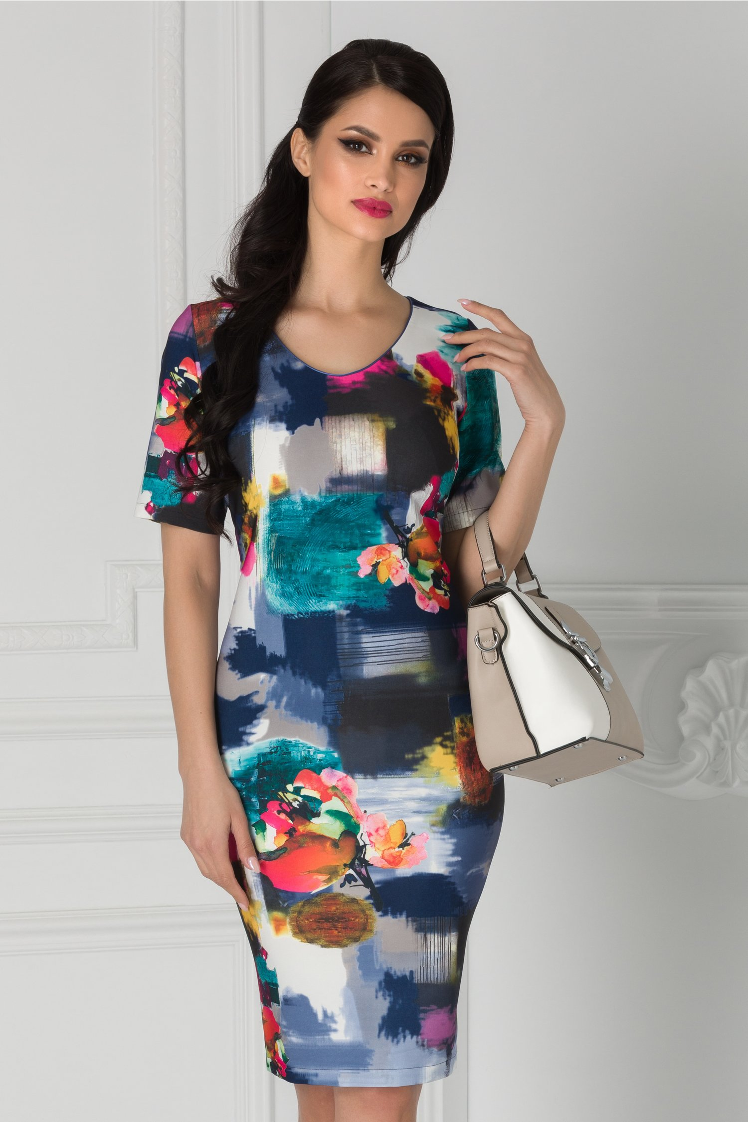 Rochie Luana de zi bleumarin cu imprimeuri colorate