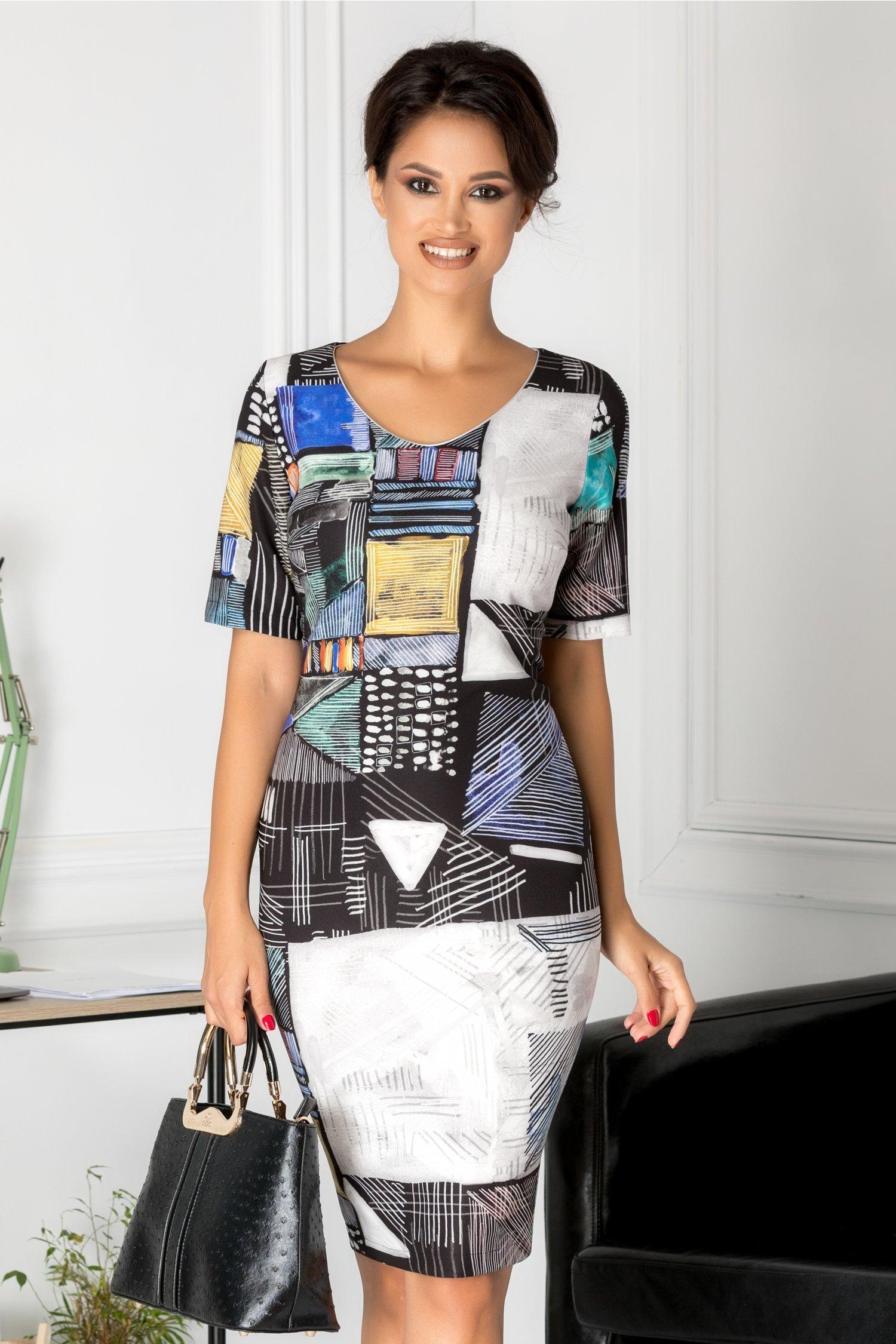 Rochie Luana de zi cu imprimeuri colorate diverse