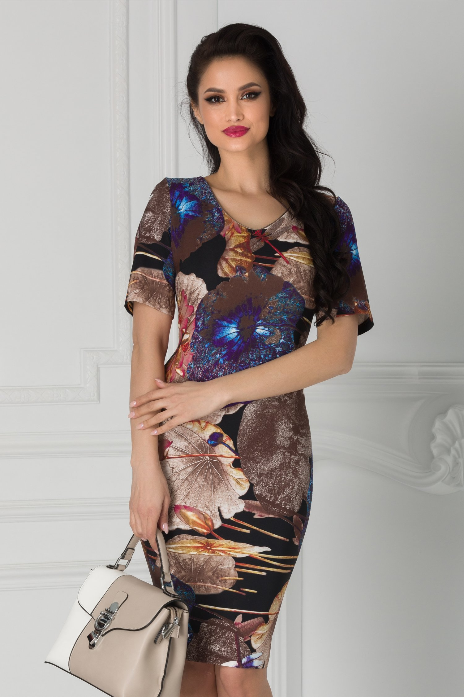 Rochie Luana neagra cu imprimeu floral maxi