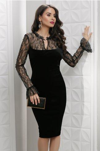 Rochie Leonard Collection Luana neagra de seara din catifea cu perle
