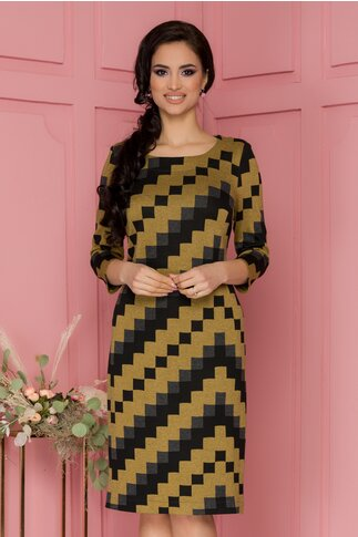 Rochie Lucinda galben mustar cu design in carouri