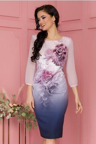 Rochie Lucy roz in degrade cu imprimeu floral maxi