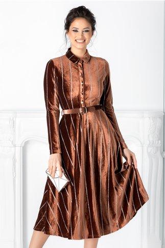 Rochie Ludmila maro din catifea  cu dungi din sclipici