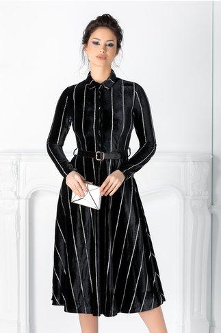 Rochie Ludmila neagra din catifea cu dungi din sclipici