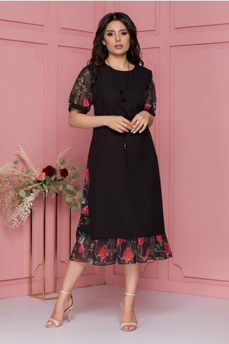 Rochie Luisa neagra cu maneci scurte si imprimeu floral