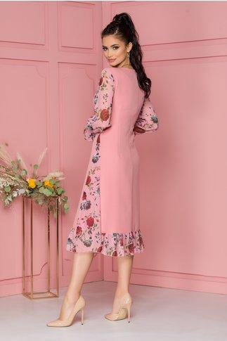 Rochie Luisa roz cu imprimeu floral