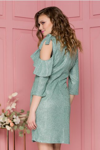 Rochie Luisa verde cu lurex si glitter