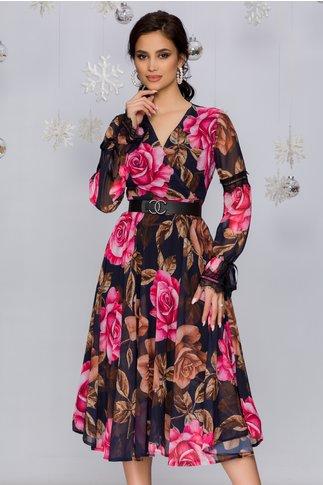 Rochie Luiza bleumarin cu imprimeuri florale bej si roz