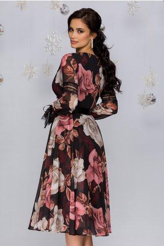 Rochie Luiza neagra cu imprimeuri florale roz si bej