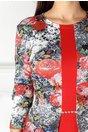 Rochie Luna rosie cu imprimeu la bust si peplum in talie