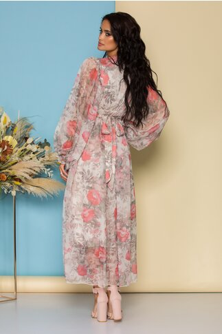 Rochie lunga bej cu imprimeuri florale roz