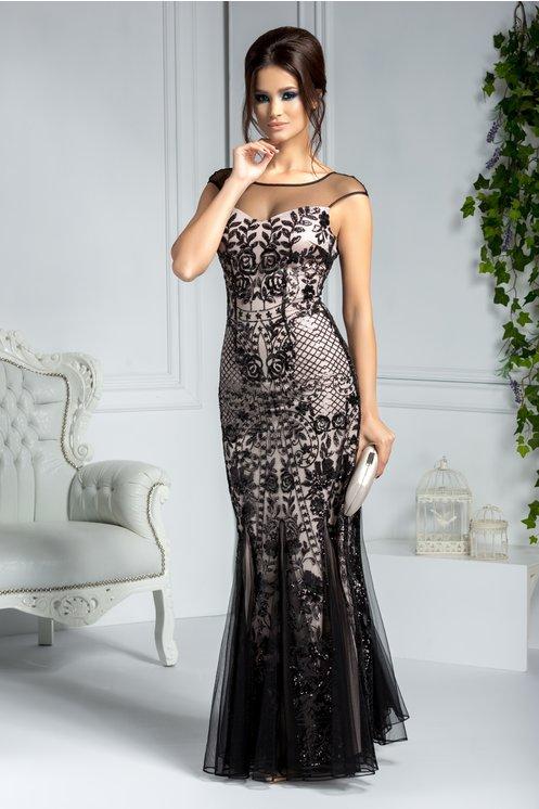 Rochie lunga de seara din tull negru cu paiete stralucitoare