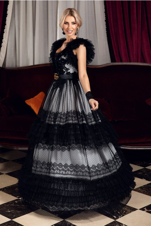 Rochie lunga LaDonna neagra cu dantela chantilly si volane