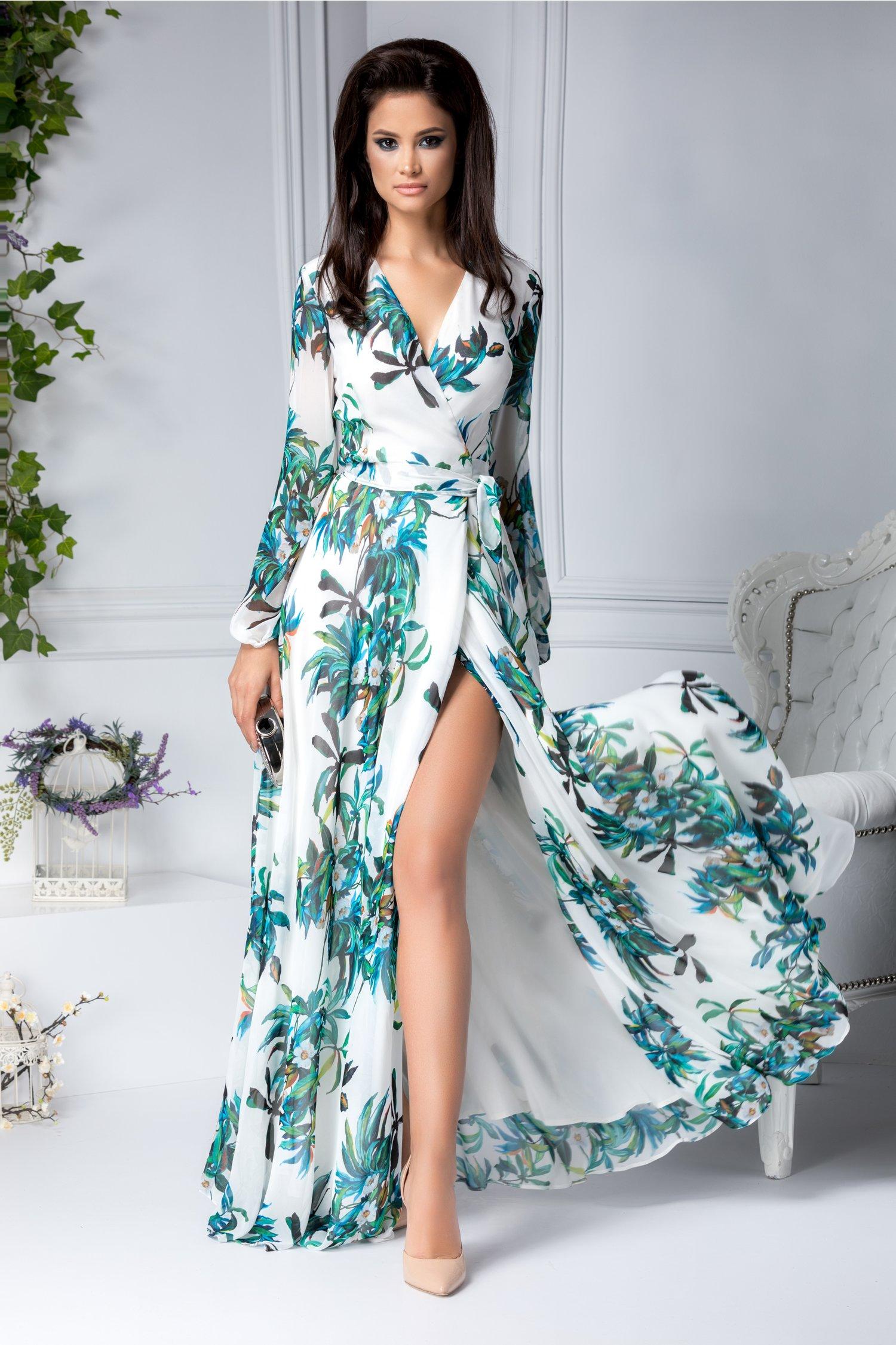 Rochie lunga petrecuta alba cu imprimeu verde