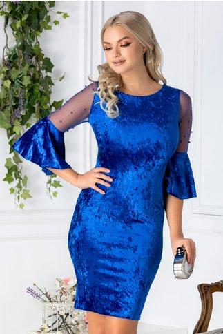 Rochie Mabel albastra din catifea cu reflexii