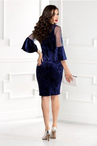 Rochie Mabel bleumarin din catifea cu reflexe si perle