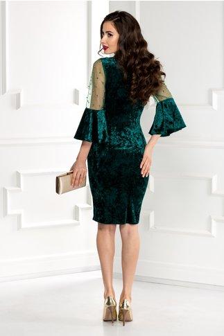 Rochie Mabel verde din catifea cu reflexe si perle