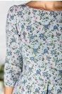 Rochie Madi gri cu carouri si flori albastre