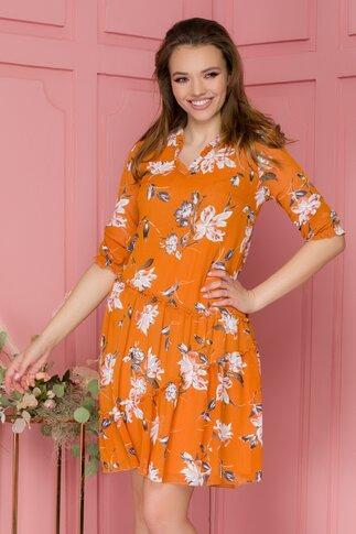 Rochie Magie din voal orange cu imprimeuri florale