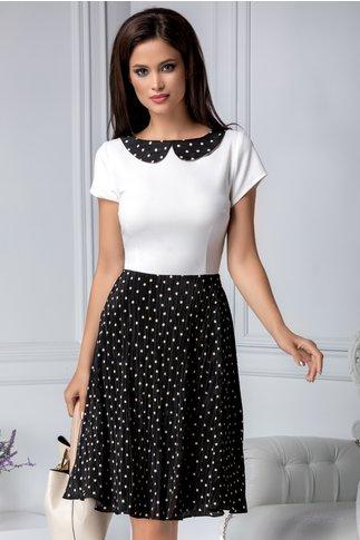 Rochie Maira alb cu negru si imprimeu cu buline