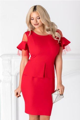 Rochie Maisey office rosie cu volane la maneci