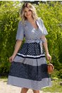 Rochie Malina alba cu dungi si imprimeu floral bleumarin