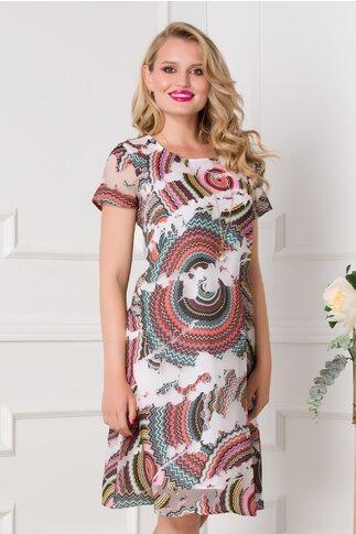 Rochie Malina alba cu imprimeuri geometrice multicolore