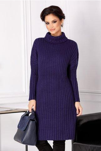 Rochie Malina bleumarin din tricot cu guler inalt