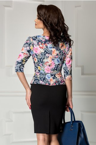 Rochie Malina neagra cu imprimeuri florale pastelate