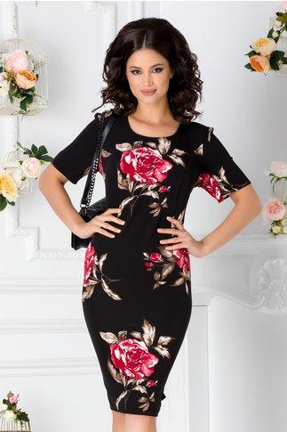 Rochie Malina neagra cu trandafiri rosii