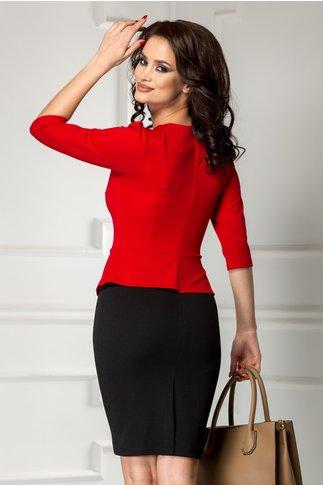 Rochie Malina office midi rosu cu negru