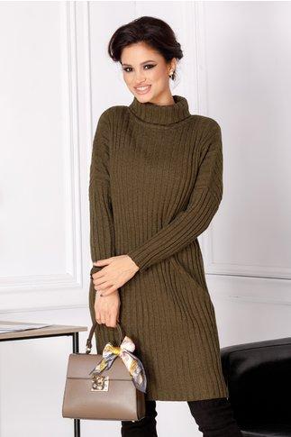 Rochie Malina verde kaki din tricot cu guler inalt