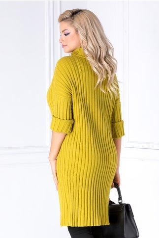 Rochie Malina verde lemon din tricot cu guler inalt