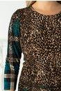 Rochie Manda cu animal print maro si carouri turcoaz