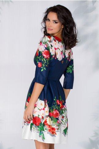Rochie Mandy bleumarin cu imprimeu floral si broderie in talie