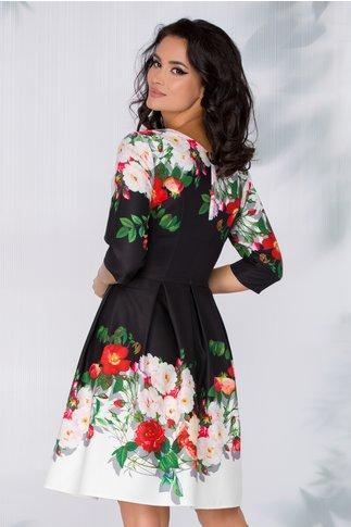 Rochie Mandy neagra cu imprimeu floral si broderie in talie