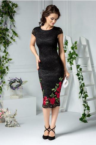 Rochie Mandy neagra din dantela cu flori rosii brodate