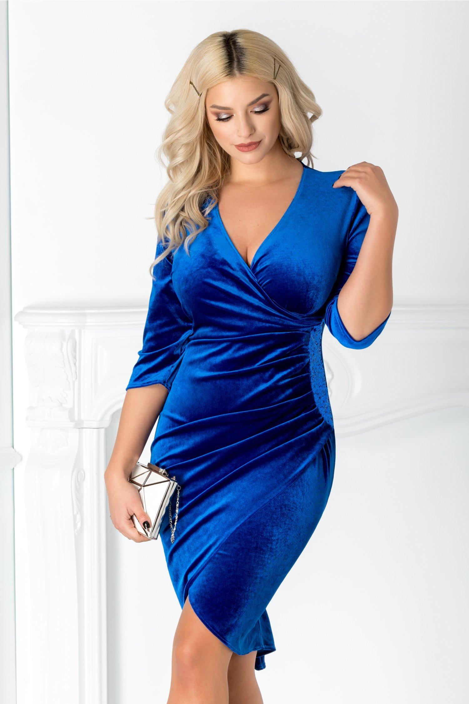 Rochie Mara albastra din catifea cu paiete