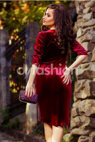 Rochie Mara Bordo Eleganta din Catifea