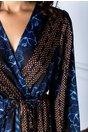 Rochie Mara lunga petrecuta cu imprimeu albastru