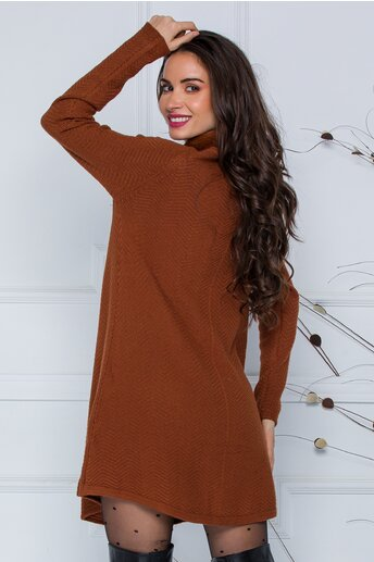 Rochie Mara maro scurta din tricot cu accesoriu tip fular