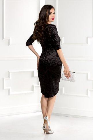 Rochie Mara neagra din catifea cu reflexe