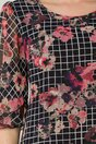 Rochie Mara neagra vaporoasa cu imprimeu floral si patratele