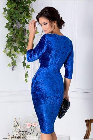 Rochie Mara petrecuta albastra din catifea cu reflexii