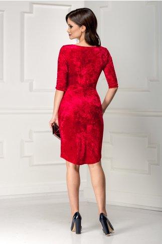 Rochie Mara rosie cu reflexe si paiete rosii