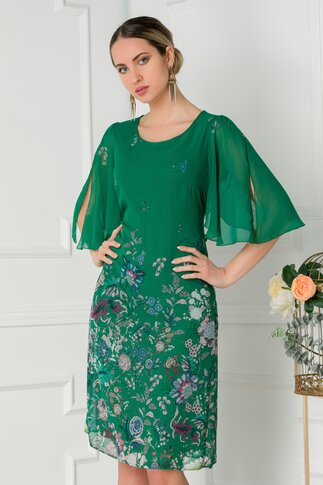 Rochie Mara verde vaporoasa cu imprimeu floral