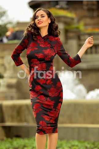 Rochie Marama Stil Chinezesc cu Imprimeu Rosu