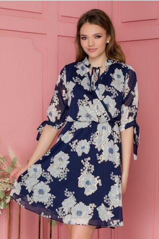 Rochie Marci albastra cu imprimeu floral si insertii aurii