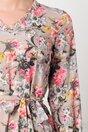 Rochie Marcy bej cu imprimeuri florale