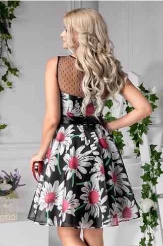 Rochie Marga neagra clos cu flori argintii